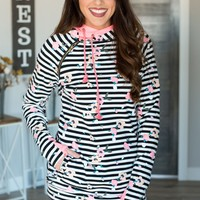 Double Hooded Sweatshirt - Distressed Floral Striped