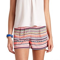 PLEATED AZTEC PRINT HIGH-WAISTED SHORTS