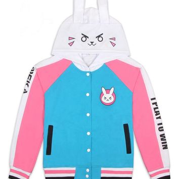 D.VA Cartoon Bunny Printed Sweatshirts Cosplay Costume DVA Cute Fashion Hooded Baseball Uniform Daily Jacket Casual Hoodie