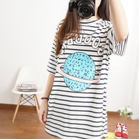 Striped Loose T-Shirt with Print