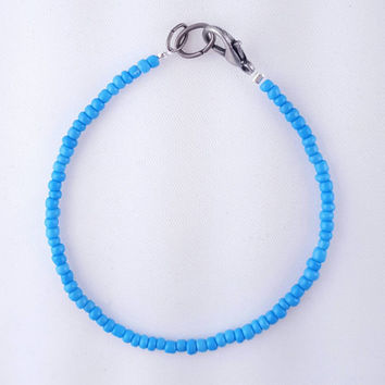 Sky Blue Seed Bead Bracelet // Stackable Bracelet // Boho Style Bangle // Sweet + Simple