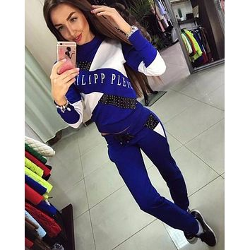 2018 Autumn and Winter BTS Tracksuit For Women 2 Pieces Suit Letter Print Brand Streetwear Black Blue Patchwork Costume Suit Set