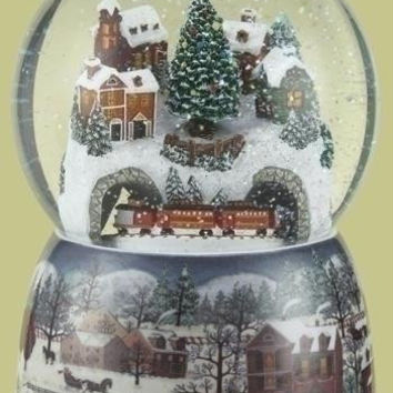 Christmas Snow Globe - Musical Village And Revolving Train