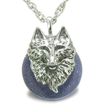 Amulet Wolf Head Courage Protection Powers Lucky Donut Blue Goldstone Pendant 18 Inch Necklace