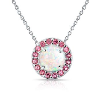 Round Halo Simulated White Opal & Garnet Necklace in Sterling Silver