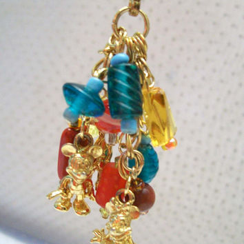 Mickey Minnie Mouse Zipper Pull Purse Charm Beaded Upcycle