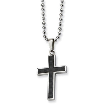 Stainless Steel Polished With Carbon Fiber Inlay Cross 22in Necklace