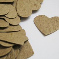 Plantable Seed Paper Hearts Confetti - 100 Count - Recycled Brown Kraft - Eco Friendly,  Wedding Favors, Bridal Showers, Cards & Crafts