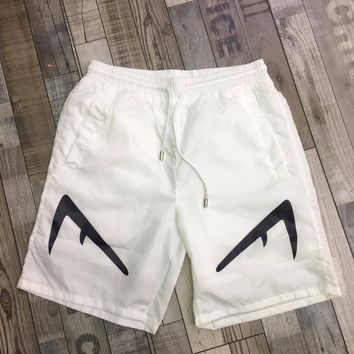 Fendi White men's summer sports fashion beach shorts