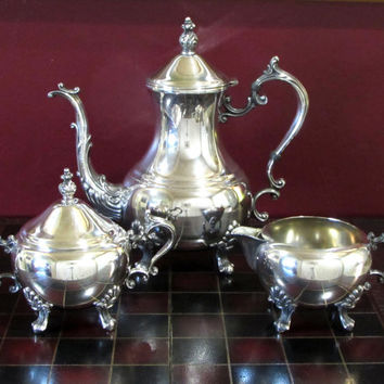 FB Rogers Lady Margaret Silver Plated Tea Service Antique 3-Piece Tea Set, Tea/Coffee Pot, Creamer, Sugar