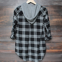black + grey plaid flannel shirt with detachable hood