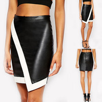 Fashion Women PU Leather High Waist A-Line Skirts Short Mini Dress Pencil Skirt
