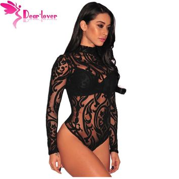 Dear-Lover Bodysuits Women Rompers Skinny Jumpsuits Autumn Sexy Pink/Black Sheer Mesh Print Button Long Sleeves Bodysuit LC32110