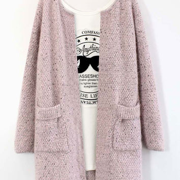 Dotted Long-Sleeve Pocket Knitted Coat