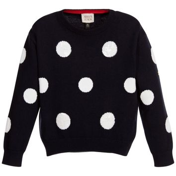 Armani Girls Navy Blue & White Sequin Polka Dot Sweater