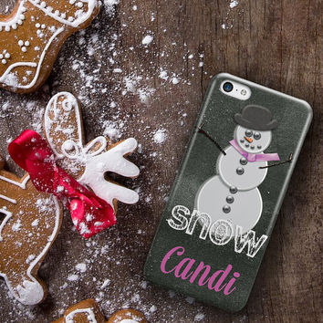 Chistmas Iphone 5c case, Snowman with hat scarf in pink, Holiday Iphone 4s case, Xmas Iphone 5s case  (1600)