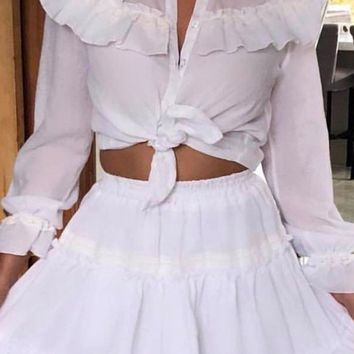 Tons Of Fun White Ruffle Long Sleeve Button Front Tie Crop Top Flare A Line Mini Two Piece Dress