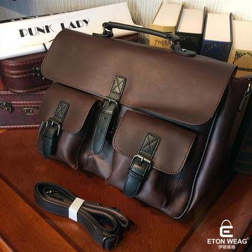 ETONWEAG Famous Brands Designer Handbags High Quality Messenger Bag Men Leather Brown Vintage Laptop Bag Pocket Mens Office Bags