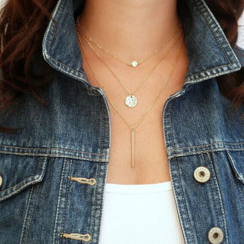 Crystal Gold 3 Layer Necklace