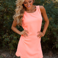 Perfectly Scalloped Dress Neon Coral