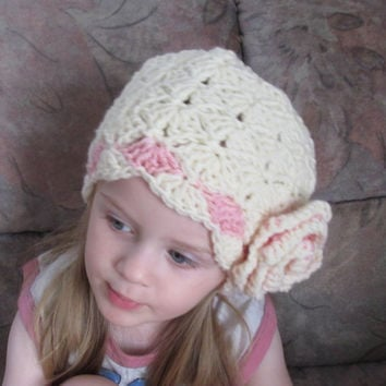 Toddler Hat Pattern, baby Hat Pattern, Girl Hat Pattern, Crochet Hat Pattern, Girls Beanie, Crochet Baby Girl Hat, Big Flower Girl Hat 6SIZE