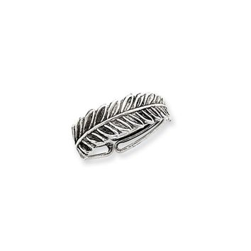 Antiqued, Fern Toe Ring in Sterling Silver