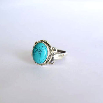 turquoise stone ring, silver ring, 92.5 sterling silver,  silver turquoise ring, stone ring,Natural Turquoise Silver Ring, RNSL214