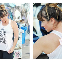 MANY COLORS, Keep Calm and Train Hard / Bow Tank Top / Workout Tank Top / Gym Tank