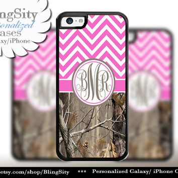 Hot Pink Chevron Monogram iPhone 5C 6 Case Plus iPhone 5s 4 Ipod 4 5 Touch case Real Tree Camo Zig Zag Personalized Country Girl