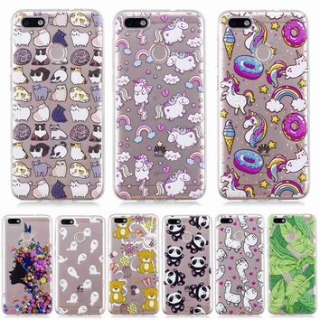 For Huawei P9 Lite Mini Case high Quality Soft Silicone cartoon bear deer flowers girl Painted phone cover caso for P9 Lite Mini