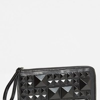 POVERTY FLATS by rian Matte Pyramid Stud Zip Clutch | Nordstrom