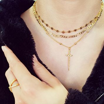 Layered Chain Cross Necklace