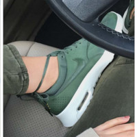 NIKE Women Men Running Sport Casual Thea Shoes Sneakers Green