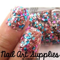 Party Nails - Pink Blue and Gold Glitter Nail Polish from nailartsupplies