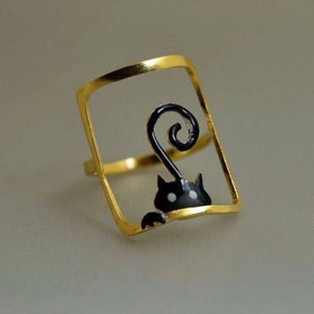 Cat Statement Ring Sterling Silver Enamel Hand Painted Black Tail Lovely Whimsical Novelty Happy Gift Idea Pet Owners Cat Lovers Feminine