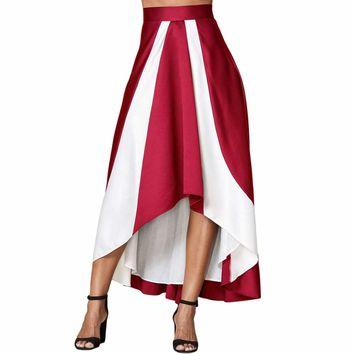 Contrast White Insert Hi-low Maxi Skirt Burgundy