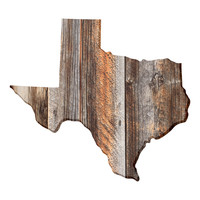 Texas Faux Wooden wall decal