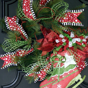 Ice Skate Christmas Wreath Mixed Pine Wreath Christmas Decor Ice Skating Winter Holiday Ice Skating 24 inch Christmas Front Door Wrreath
