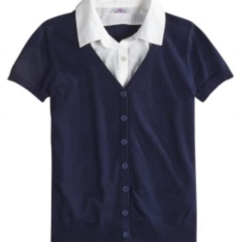 SCHOOL UNIFORM SHORT SLEEVE SHIRT AND SWEATER 2FER | GIRLS TOPS SCHOOL UNIFORMS | SHOP JUSTICE