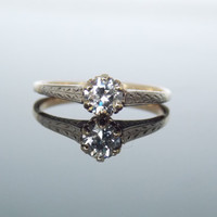 Reserved - Two Tone Engraved Diamond Solitaire Engagement Ring White YellowFiligree Chased Simple RGDI2004N