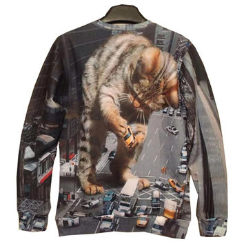 big cat holding car print 3d sweatshirts men/women&'s hoodies fashion thin 3d sweatshirts Asia S/M/L