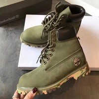 Timberland Boos With Upper Leather Green