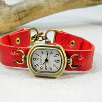 Women's Leather Watch | Red Leather | Bronze Watch |