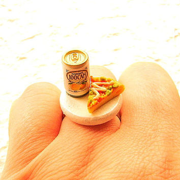Pineapple Juice Pizza Ring Miniature Food by SouZouCreations