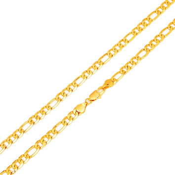 "Hot Sale Men's 18K Real Gold Plated Italy Figaro Chain Necklace Jewelry 24"" 60CM"