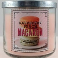 1 X Bath & Body Works RASPBERRY PEACH MACARON 3 wick 14.5 oz scented candle 2014 Sweet Shop collection