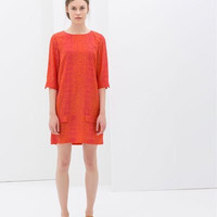 Red Sleeve Shift Dress With Pocket