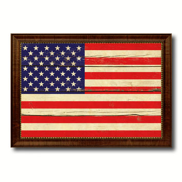 USA Country Flag Vintage Canvas Print with Brown Picture Frame Home Decor Gifts Wall Art Decoration Artwork