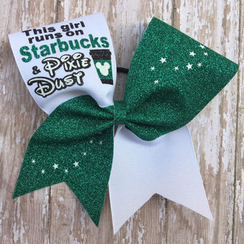 Starbucks Inspired Cheer Bow Starbucks and pixie dust