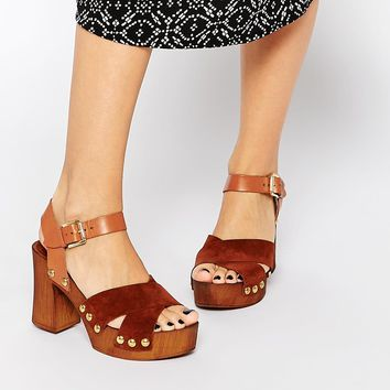 ASOS TAMARA Leather 70s Heeled Clogs